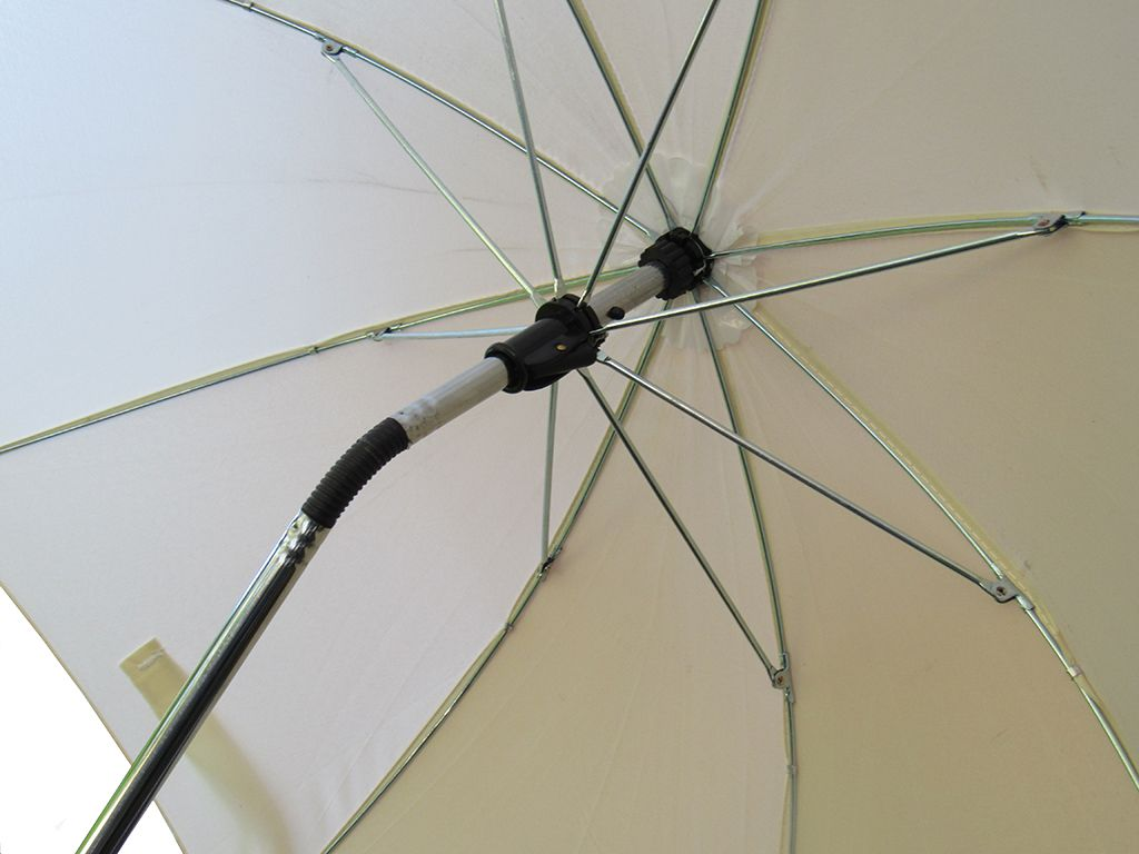 Clamp On Chair Umbrella Fully Adjustable Cream Parasol Flexible Pole Free Uk Mainland